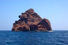 Scandola自然保护,联合国科教文组织世界遗产名录站点,可西嘉岛, Fr 免版税图库摄影