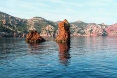 Scandola naturreserv, Korsika, Frankrike arkivbilder