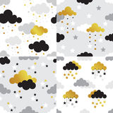 Scandy gold pattern set ser 4 Royalty Free Stock Photography