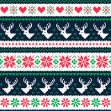 Scandynavian winter seamless pattern with deer and hearts Royalty Free Stock Images