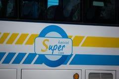 Scania autobús de 15 metros de la compañía de Sombattour Fotografía de archivo libre de regalías