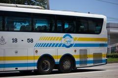 Scania autobús de 15 metros de la compañía de Sombattour Foto de archivo