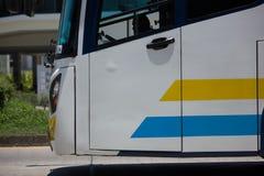 Scania autobús de 15 metros de la compañía de Sombattour Imagen de archivo libre de regalías