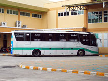 Scania bus body and chassis. Greenbus route massot and maesai Royalty Free Stock Image
