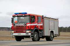 Scania 114C Fire Truck on the Road Stock Photography