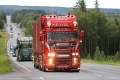 Scania estupendo rojo R450 Omerta del transporte de Weeda Fotografía de archivo