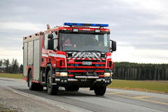 Scania Fire Truck on the Road Stock Photos