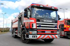 Scania 114G Fire Truck on Display Royalty Free Stock Photos