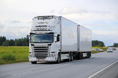 Scania G450 Reefer Truck on the Road Royalty Free Stock Photo