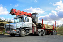 Scania 124G Truck with Log Loader royalty free stock photography