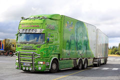 Scania Legend of Ristimaa Trucking at Truck Stop. JALASJARVI, FINLAND - AUGUST 11, 2016: Lime green Scania R500 year 2008 Legend of Ristimaa Trucking visits Stock Photography
