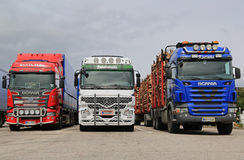 Scania and Mercedes-Benz Actros Trucks Parked Royalty Free Stock Images