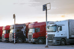 Scania & Mercedes Heavy trucks with trailers Stock Image