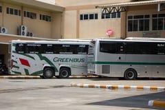 Scania 15-Meter-Bus von Greenbus-Firma Stockfotos