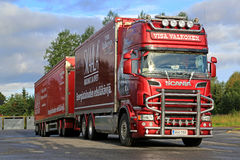 Scania R560 Combination of Visa Valkonen Parked on a Yard Stock Images