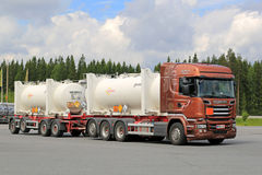 Scania R520 Euro 6 Tank Truck On the Go. HIRVASKANGAS, FINLAND - JUNE 20, 2015: Scania R520 Euro 6 tank truck hauls flammable goods. The ADR label 50-1495 stands Royalty Free Stock Image