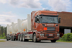 Scania R520 Euro 6 Tank Truck on the Road Royalty Free Stock Photos