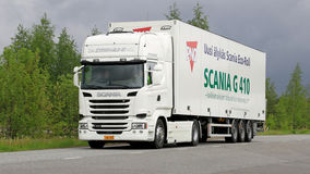 Scania R410  Euro 6 V8 Semi Truck on the Road Stock Images