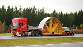 Scania R730 Hauls Industrial Object as Exceptional Load Stock Photos