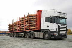 Scania R480 Heavy Truck Hauls Timber Royalty Free Stock Photos