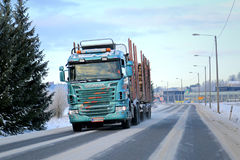Scania R500 Logging Truck on the Road Stock Photography