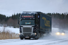 Scania R450 Semi Truck Transport on Winter Roads Royalty Free Stock Photography
