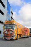 Scania R620 Show Truck Tiger at a Warehouse Royalty Free Stock Image