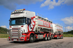 Scania R560 Tank Truck on a Parking Lot Royalty Free Stock Images