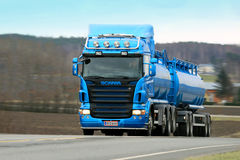 Scania R500 Tank Truck on The Road Royalty Free Stock Photos