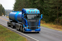 Scania R580 Tank Truck on Rural Road. SALO, FINLAND - OCTOBER 22, 2016: Beautiful blue Scania R580 tank truck on rural road. Scanias new truck range wins Royalty Free Stock Photos