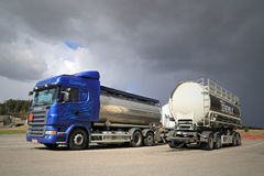 Scania R480 Tank Truck and a Trailer on a Yard Stock Photography