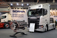 Scania R580 Truck and V8 Engine stock images