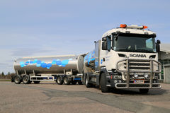 Scania R500 V8 Milk Truck Parked Royalty Free Stock Images