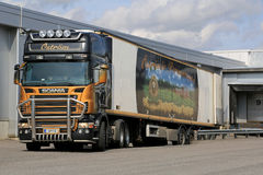 Scania R500 V8 Semi Trailer Truck Transports Food. FORSSA, FINLAND - AUGUST 23, 2014: Scania R500 V8 semi trailer truck transports frozen food to a warehouse. In Stock Photo