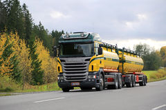 Scania R480 V8 Tank Truck on Autumn Road Royalty Free Stock Image