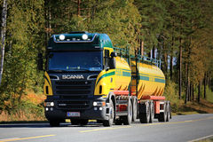 Scania R500 V8 Tank Truck on the Road. SALO, FINLAND - SEPTEMBER 20, 2015: Scania R500 V8 tank truck on the road. Scania increased its market share in Europe to Stock Image