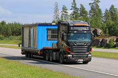 Scania R500 Transports Portable Cabin Along Motorway Royalty Free Stock Photography