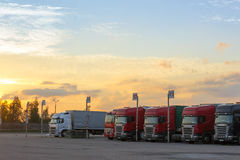 Scania, Renault & Volvo Heavy trucks with trailers stock photography