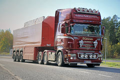 Scania Semi Hauls Concrete Slab Stock Photo