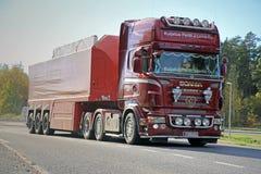 Scania Semi Hauls Concrete Slab Stock Photo