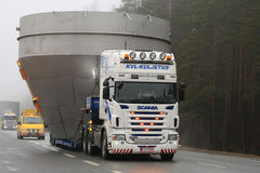 Scania Semi Oversize Transport on the Road Royalty Free Stock Photo