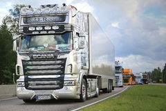 Scania Semi R620 R.U.Route on in Truck Convoy. LEMPAALA, FINLAND - AUGUST 6, 2015: Scania Semi R620 R.U.Route Nostalgia from Slovakia participates in the Truck Stock Photography