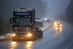 Scania Semi R500 Tank Truck in Fog Stock Image