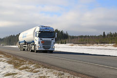 Scania Semi Tank Truck on Freeway Royalty Free Stock Images