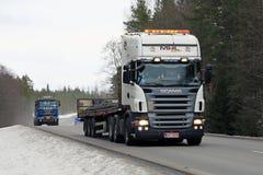 Scania Semi Transports Rebar Stock Photo