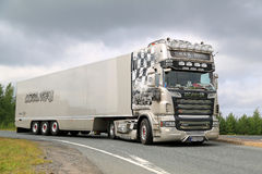 Scania Semi Truck R620 V8 R.U. Route Royalty Free Stock Image