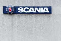 Scania sign on a wall Royalty Free Stock Image