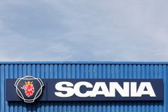 Scania sign on a wall Royalty Free Stock Photography