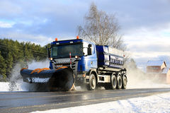 Scania Snowplow Truck Clears Road Royalty Free Stock Photography