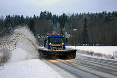 Scania Snowplow Truck Removes Snow off Road Royalty Free Stock Photography